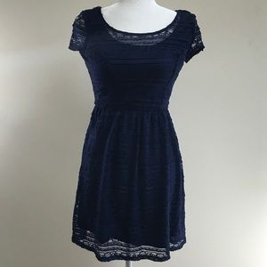 NWT Speechless dress, navy blue lace, size medium